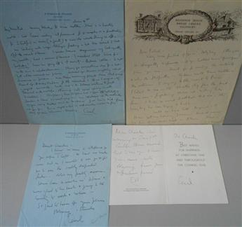 BEATON, CECIL. Group of 4 items Signed, Cecil or C.B.: three Autograph Letters, and an Autograph Note, each to Dear Charles or D
