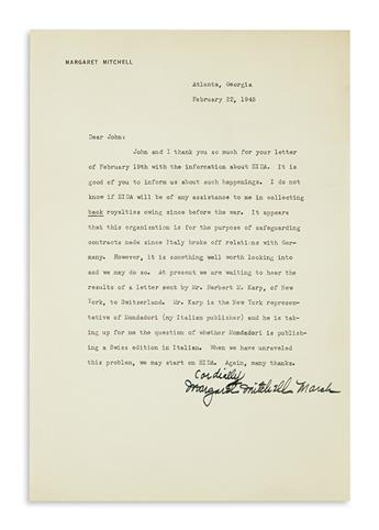 MITCHELL, MARGARET. Group of three Typed Letters Signed, Margaret Mitchell Marsh or M.M.M., to a publisher (Dear John).