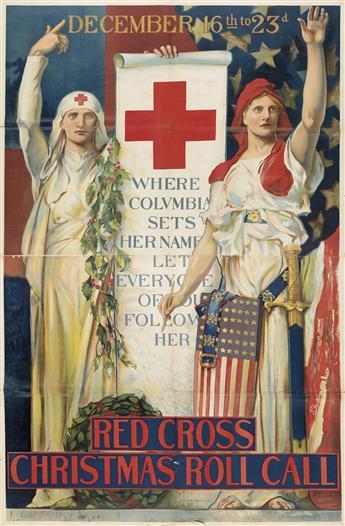 EDWIN HOWLAND BLASHFIELD (1848-1936). RED CROSS CHRISTMAS ROLL CALL. 1918. 84x55 inches, 214x141 cm.