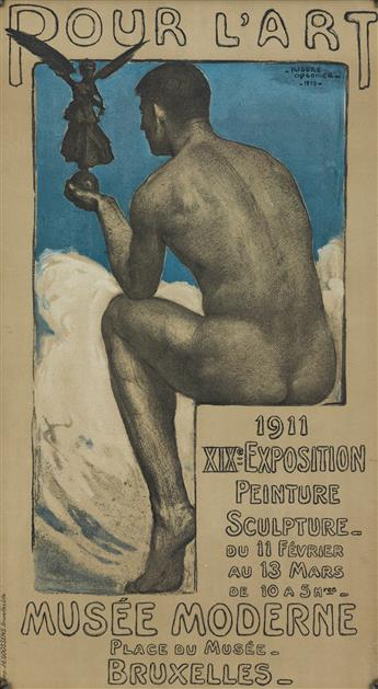 ISIDORE OPSOMER (1878-1967). POUR LART / MUSÉE MODERNE / XIX EXPOSITION. 1910. 29x16 inches, 74x41 cm. J.E. Goossens, Brussels.
