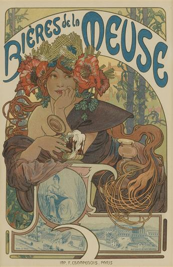 ALPHONSE MUCHA (1860-1939). BIÈRES DE LA MEUSE. Maîtres de lAffiche pl. 182. 1899. 15x11 inches, 40x28 cm. Chaix, Paris.