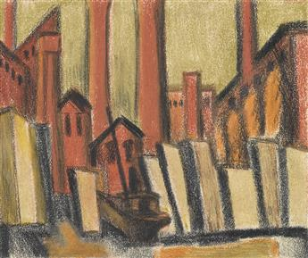 OSCAR BLUEMNER Two color pencil and crayon drawings.