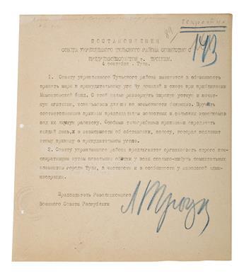 TROTSKY, LEON. Typed Document Signed, L. Trotsky,