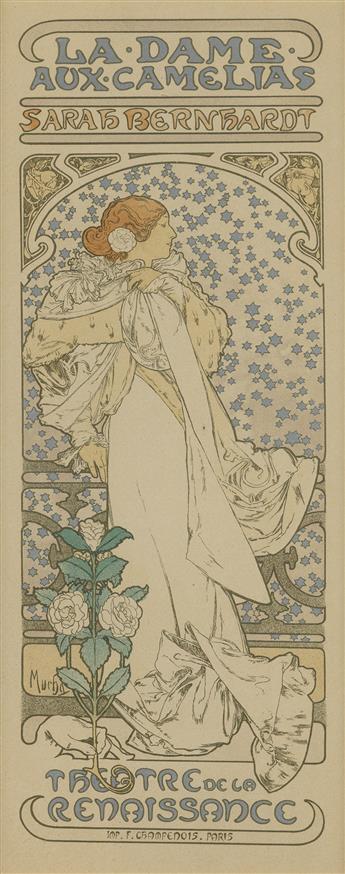 ALPHONSE MUCHA (1860-1939). LA DAME AUX CAMELIAS. Maîtres de lAffiche pl. 144. 1898. 15x11 inches, 40x28 cm. Chaix, Paris.