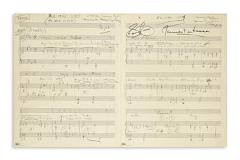 VAN HEUSEN, JIMMY. Autograph Musical Manuscript Signed, four times, working draft for the vocal score of All the Way, in pencil,