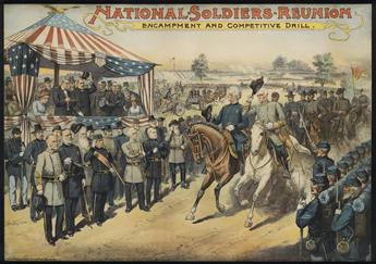 DESIGNER UNKNOWN. NATIONAL SOLDIERS REUNION / ENCAMPMENT AND COMPETITIVE DRILL. Circa 1885. 26x37 inches, 66x94 cm. The Strobridge Lith