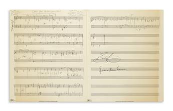 VAN HEUSEN, JIMMY. Autograph Musical Manuscript Signed, twice, working draft for the piano part of the vocal score of Call Me Irrespon