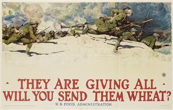 HARVEY DUNN (1884-1952). THEY ARE GIVING ALL / WILL YOU SEND THEM WHEAT? 1918. 36x56 inches, 91x142 cm. The W.F. Powers Co. Litho., New