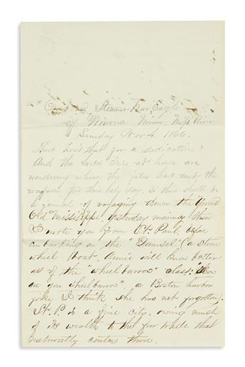 (TRAVEL.) White, Fred. Letter written on a steamboat trip down the Mississippi River.