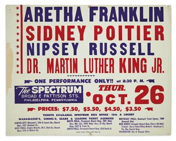 (KING, MARTIN LUTHER.) Advertising poster for a benefit concert featuring Dr. King and Aretha Franklin.