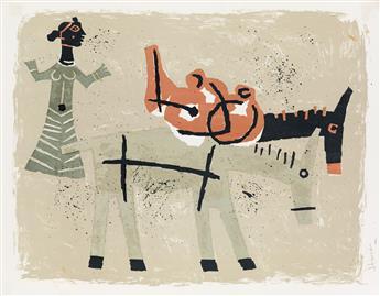 MAQBOOL FIDA HUSAIN Untitled (Woman with Two Donkeys).