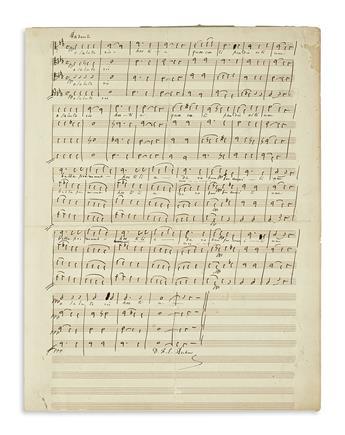 AUBER, DANIEL FRANÇOIS ESPRIT. Autograph Musical Manuscript Signed, D.F.E. Auber, choral score for an unnamed work