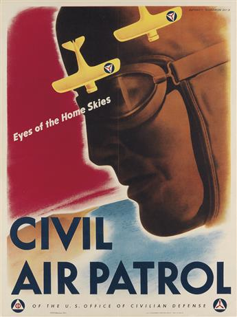 V. CLAYTON KENNEY (DATES UNKNOWN). CIVIL AIR PATROL / EYES OF THE HOME SKIES. 1943. 28x21 inches, 71x53 cm. U.S. Government Printing Of