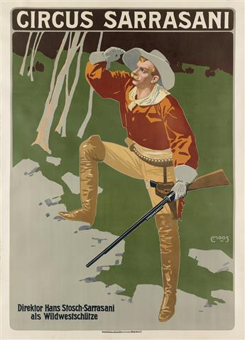 CARL MOOS (1878-1959). CIRCUS SARRASANI. Circa 1912. 48x35 inches, 123x89 cm. G. Schuh & Cie., Munich.