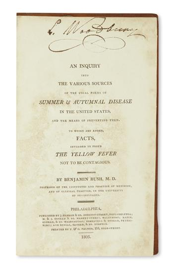 (MEDICINE.) Rush, Benjamin. An Inquiry into the Various Sources of . . . Summer and Autumnal Disease in the United States.