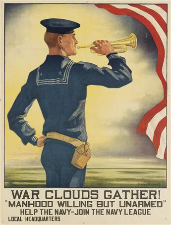 HAZEL ROBERTS (1883-1966). WAR CLOUDS GATHER! / MANHOOD WILLING BUT UNARMED. 1916. 25x18 inches, 63x47 cm.