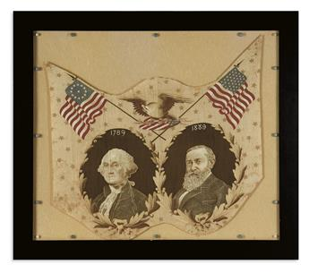 (PRESIDENTS--1889.) George Washington-Benjamin Harrison commemorative textile.
