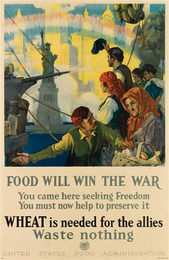 CHARLES CHAMBERS (1883-1941). FOOD WILL WIN THE WAR. 1918. 29x19 inches, 75x49 cm. Rusling Wood Litho., New York.