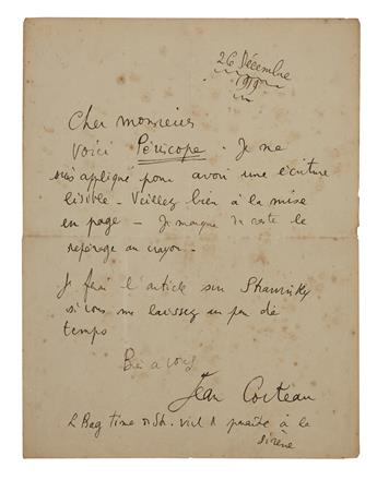 COCTEAU, JEAN. Autograph Letter Signed, to an unnamed editor or publisher (Dear Sir), in French,
