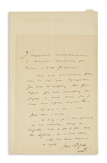 BIZET, GEORGES. Autograph Letter Signed, to dear Lefebvre, in French,