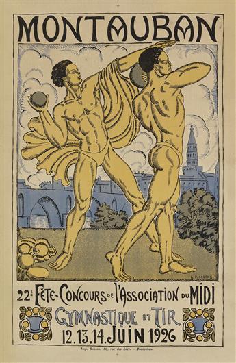 LUCIEN-PIERRE CADENE (1887-1958). MONTAUBAN / GYMNASTIQUE ET TIR. 1926. 24x16 inches, 62x40 cm. Busson, Montauban.