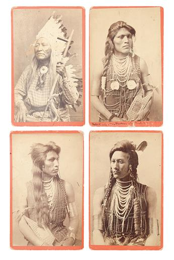 (AMERICAN INDIANS--PHOTOGRAPHS.) Baker & Johnston; photographers. Group of 4 cabinet card portraits of Shoshone men.