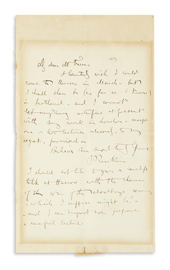 RUSKIN, JOHN. Autograph Letter Signed, JRuskin, to My dear Mr. Farrar,