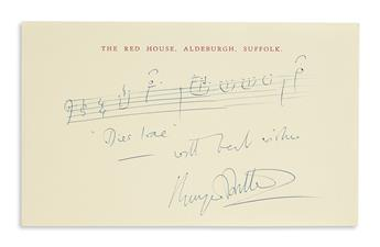 BRITTEN, BENJAMIN. Autograph Musical Quotation Signed and Inscribed, with best wishes / BenjBritten, to an unnamed recipient, 3 bars