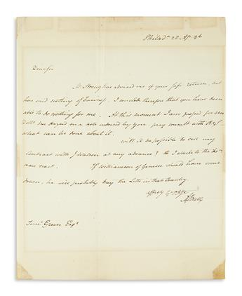 BURR, AARON. Autograph Letter Signed, A. Burr, as Senator, to his business associate Timothy Green,