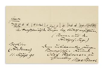 BRUCH, MAX. Autograph Musical Quotation Signed and Inscribed, to his Norwegian friend Olaf Halvorsen, in German, 8 bars from his cantat