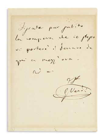 VERDI, GIUSEPPE. Autograph Note Signed, GVerdi, to an unnamed recipient, in French: