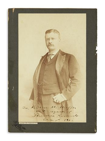 ROOSEVELT, THEODORE. Photograph Signed and Inscribed, as President, to Dr. Newton M. Schaffer / with regards, half-length portrait by