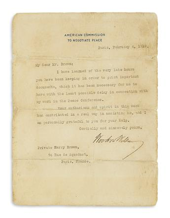 WILSON, WOODROW. Typed Letter Signed, as President, to Private Harry Brown,