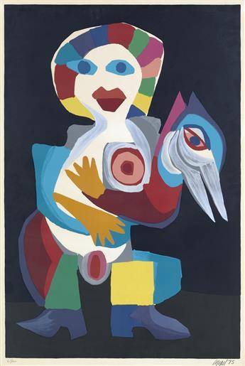 KAREL APPEL Femme avec Oiseau.