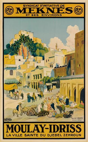 MATTÉO BRONDY (1866-1944). MEKNES / MOULAY - IDRISS. 1932. 40x25 inches, 103x64 cm. Baconnier, Alger.