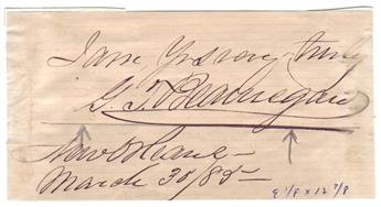 BEAUREGARD, PIERRE G.T. Clipped Signature and date: I am, Yrs very truly / G.T. Beauregard / New Orleans / March 30/89--,