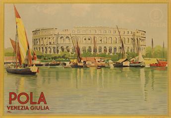 LEOPOLDO METLICOVITZ (1868-1944). POLA / VENEZIA GIULIA. Circa 1925. 27x39 inches, 69x100 cm. G. Ricordi & C., Milan.