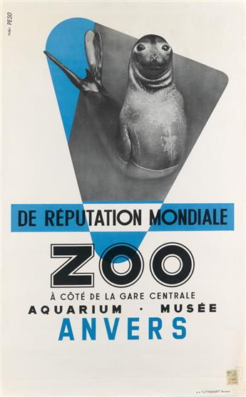 DESIGNER UNKNOWN. ZOO / ANVERS / DE RÉPUTATION MONDIALE. Circa 1958. 39x24 inches, 99x62 cm. Lithocart, Anvers.