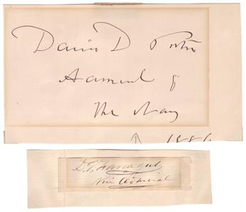 (ADMIRALS.) Two items, each a clipped Signature with rank: David G. Farragut * David Dixon Porter.