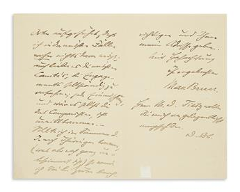BRUCH, MAX. Autograph Letter Signed, to an unnamed singer (Dear Sir), in German,