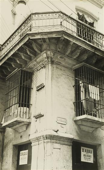 WALKER EVANS (1903-1975) Corner of Havana building with decorative iron grillwork.