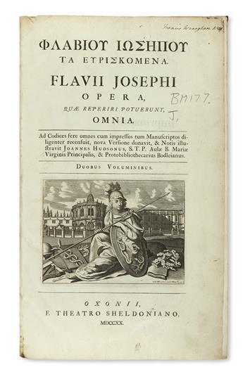 JOSEPHUS, FLAVIUS.  Opera quae reperiri potuerint, omnia.  2 vols.  1720