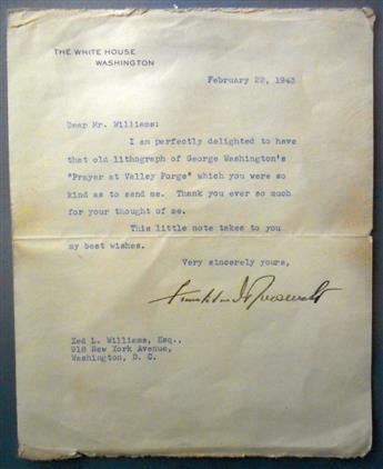 ROOSEVELT, FRANKLIN D. Typed Letter Signed, as President, to Zed L. Williams,