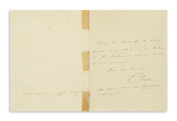 CHOPIN, FREDERIC. Autograph Note Signed, F. Chopin, to Mr. Schlesinger [publisher Maurice Schlesinger?], in French,