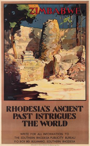 WYNDHAM ROBINSON (1883-1959). ZIMBABWE / RHODESIAS ANCIENT PAST INTRIGUES THE WORLD. 1928. 39x24 inches, 101x63 cm. Hortors Limited, C
