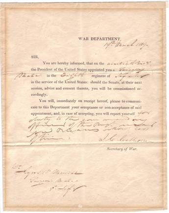 CALHOUN, JOHN C. Partly-printed Letter Signed, J.C. Calhoun, as Secretary of War, to Ayers P. Merrill,