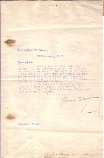 TISSOT, JAMES. Typed Letter Signed, to Luther R. Marsh,