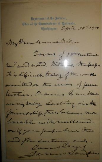 LONGSTREET, JAMES. Autograph Letter Signed, to My Dear General Wilson,
