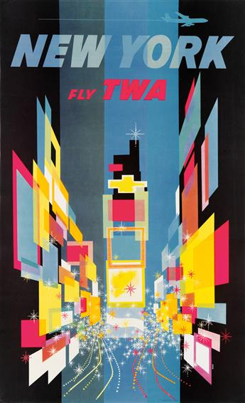 DAVID KLEIN (1918-2005). NEW YORK / FLY TWA. Circa 1960. 40x24 inches, 102x62 cm.