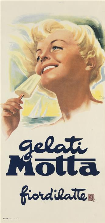 MARIO ROSSI (DATES UNKNOWN). GELATI MOTTA / FIORDILATTE. Circa 1950s. 27x13 inches, 69x33 cm. Sisar, Milan.